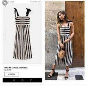 Zara Striped linen beige bow sleeves midi dress